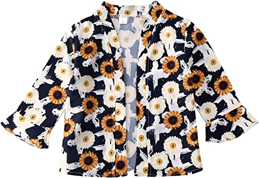 Baby Girl Floral Print Jacket Tassel Chiffon Kimono Cardigan Cover up Blouse Summer Coat Clothes