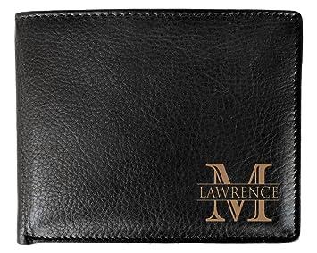 Esquina monograma grabado personalizado uno negro tipo cartera de hombre Bifold cartera de piel RFID - personalizada de GROOMSMAN mejor hombre boda fiesta ...