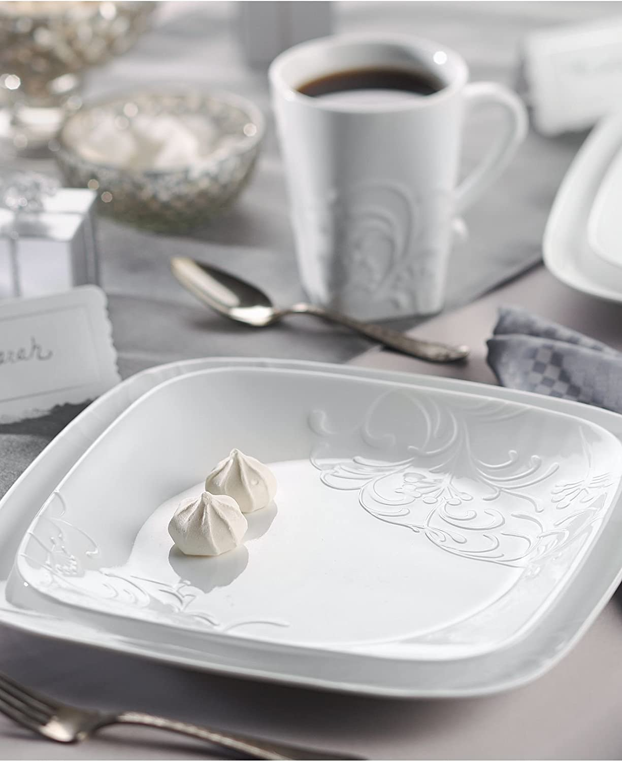 Amazon.com | Corelle Boutique Cherish Embossed Square 16-Piece Set White  Dinnerware Square Dishes Stackable And Lightweight Dishwasher Freezer Oven  And ...