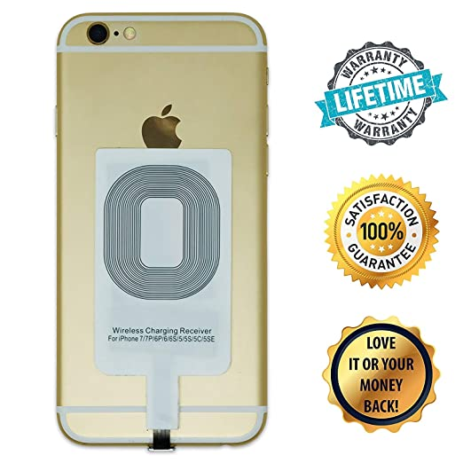 Stress Free Key Wireless Charging Adapter for iPhone - Receiver Works with Apple iPhone 7/7+ / 6s / 6s+ / 6/6+/ 5/ 5s /5c - Small, Discreet, Works ...