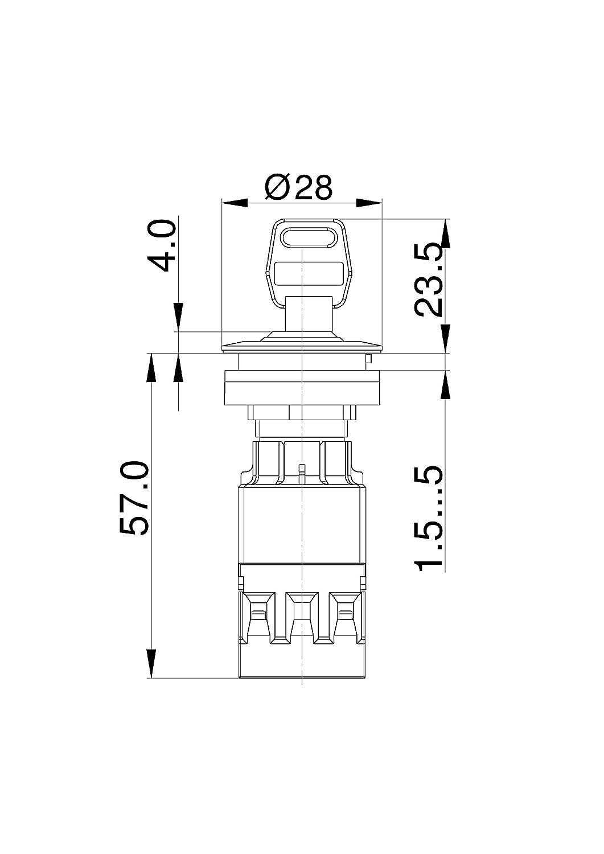 Lot de 2 Schlegel 23.001.524/Interrupteur /à cl/é tastend acier inoxydable m/étallique borne /à vis 2/positions Sonde Contact 1/NO et 1/contact des donateurs