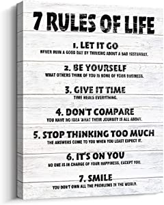 Pigort Motivational Quotes Wall Decor 7 Rules of Life Inspirational Motto Canvas Print Wall Art (White)