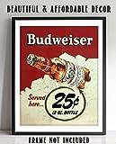 """Budweiser Beer-Vintage Sign Poster Print-""""Served"""