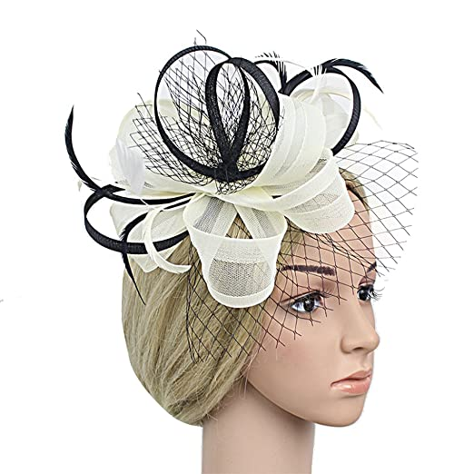 Old DIrd Womens Two-Tone Flower Hair Clip Cocktail Tea Party Headwear  Fascinators Hat 14 3e50ed068c2