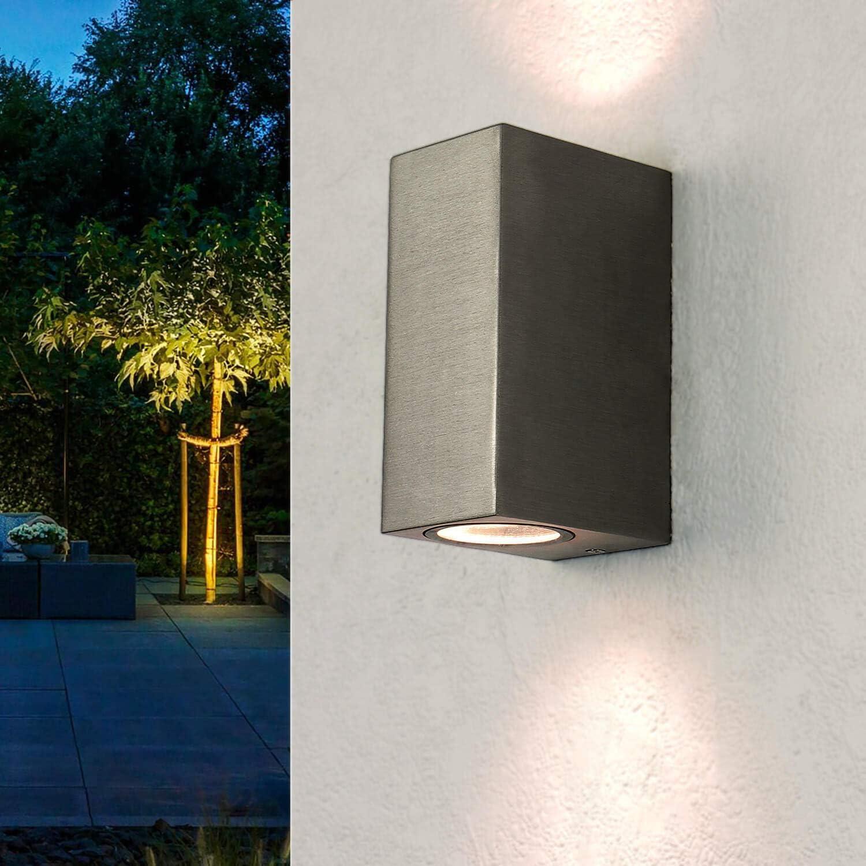 Lámpara de pared moderna en plata, incl. 2 GU10 LED x 3,2W, 230V, aplique de pared de aluminio inyectado para jardín/terraza, jardín, camino, lámparas, aplique de terraza, iluminación exterior