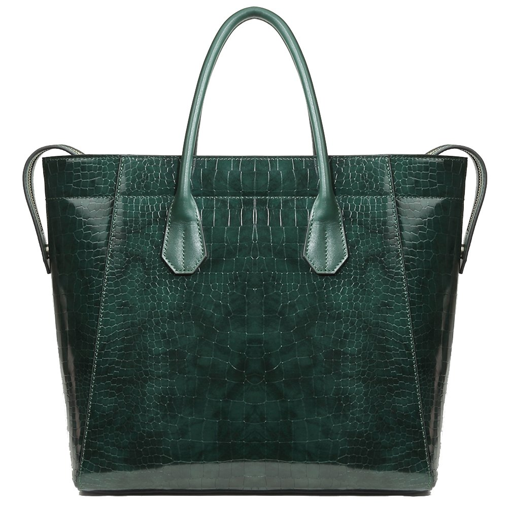 Genuine Leather Designer Handbags for Women Bright Green Embossed-Crocodile Cowhide Top-handle Bag