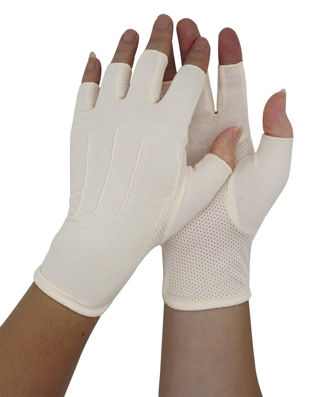 Bienvenu Mens Spring Summer Sunblock Fashion Fingerless Short Gloves Anti Slip Breathable Texting Gloves, Beige