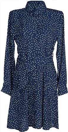 styleBREAKER Vestido en Forma de Camisa de Mujer de Manga Larga con Motivo de Lunares, Cuello de Blusa y cinturón, Minivestido, Vestido en Forma de Camisa, Vestido 08010062: Amazon.es: Ropa y accesorios