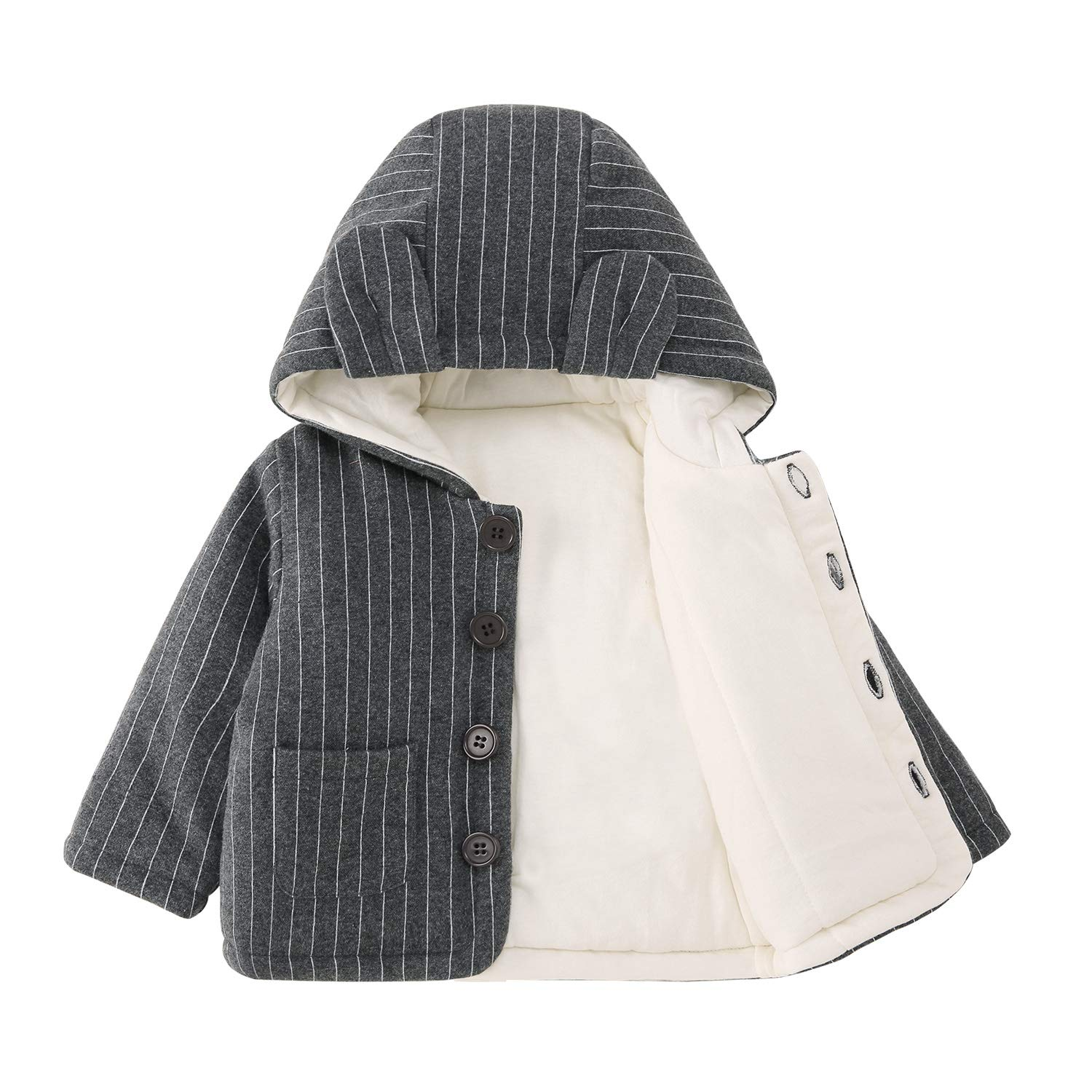 pureborn Baby Hooded Quilt Lined Jacket Outfit Cute Cartoon Animals Winter Autumn Cotton Warm Cotton Coat