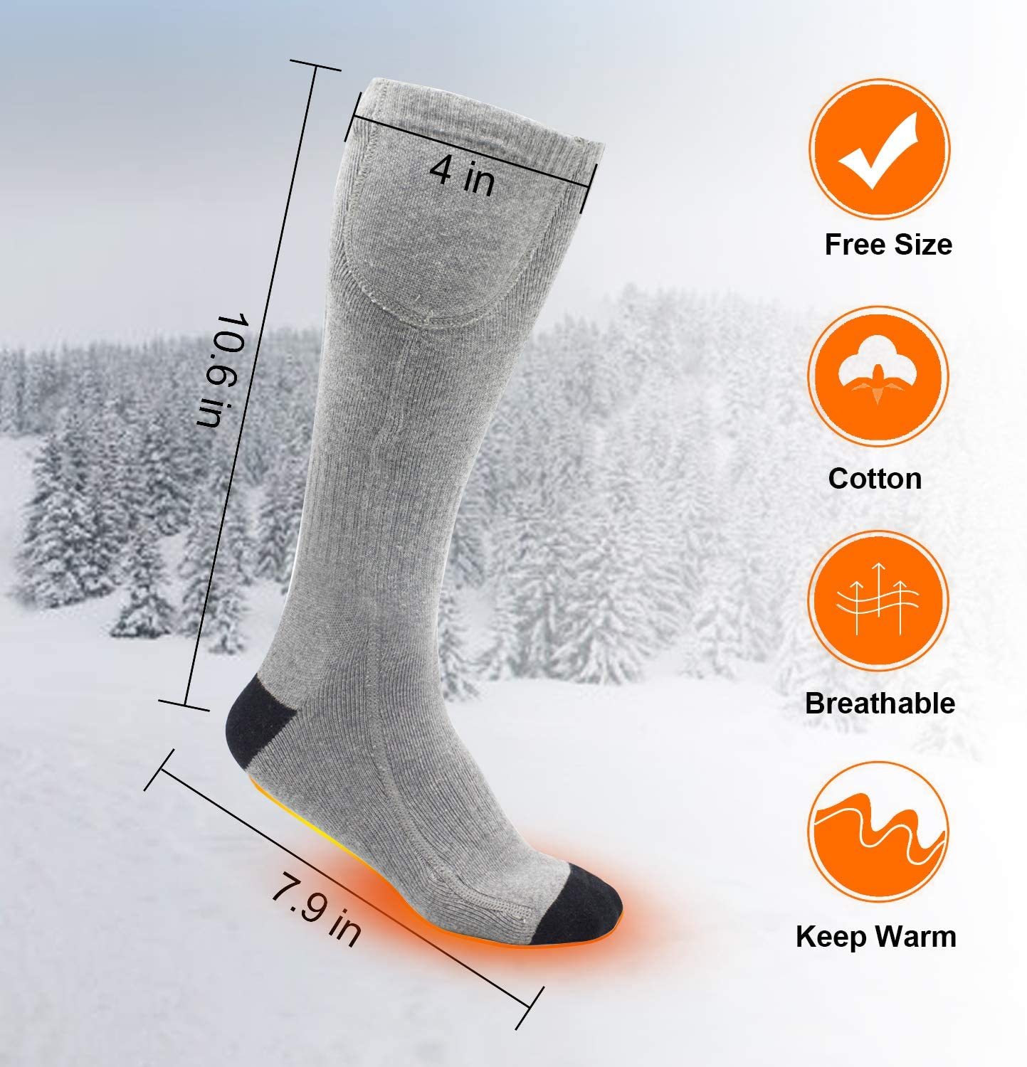 Up to 16 Hours of Heat Gray 2 MUCH Heated Socks for Men//Women-2020 Upgraded Rechargeable Electric Socks
