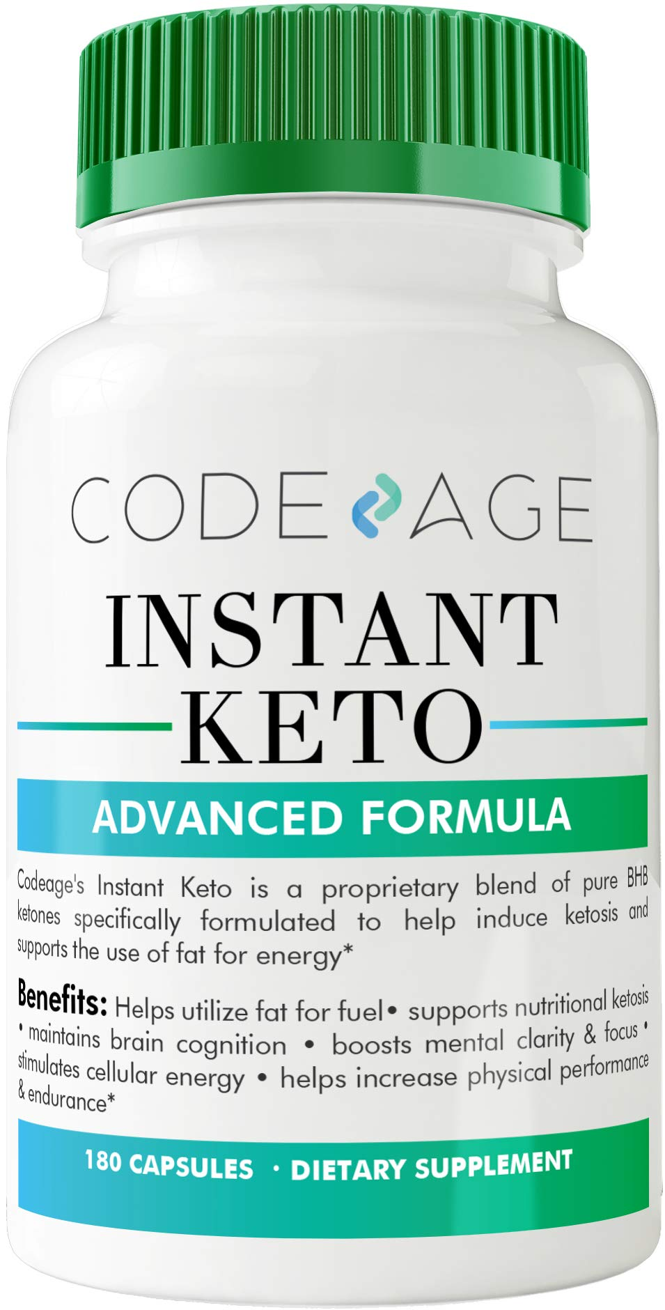Codeage Instant Keto BHB Weight Loss Supplement Pills for Women and Men, BHB Salts as Exogenous Ketones, 180 Capsules, 90 Day Supply