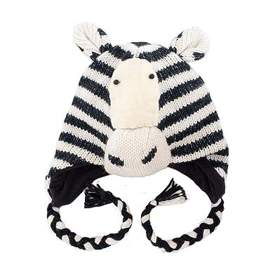f588c23744e Zebra Knitted Nepal Animal Hat  Amazon.co.uk  Clothing