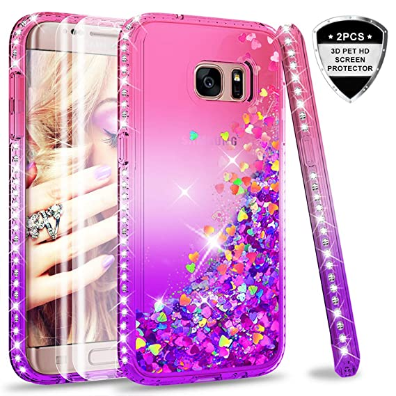 buy popular 2d7ab cb62b Galaxy S7 Edge Case (Not Fit S7) with 3D Pet Screen Protector [2 Pack] for  Girls Women, LeYi Glitter Bling Shiny Diamond Liquid Clear TPU Protective  ...