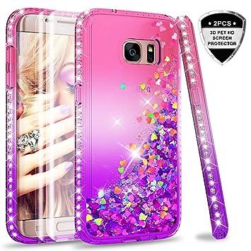 ccf7a732bb1 LeYi Compatible with Funda Samsung Galaxy S7 Edge Silicona Purpurina  Carcasa con [2-Unidades
