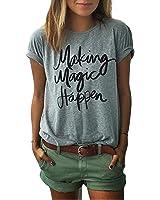 Yantu Damen Girl Rundhals Top Sommer Weich T-Shirt Oversize Funny Crew Neck Print Kurzer Sweatshirt