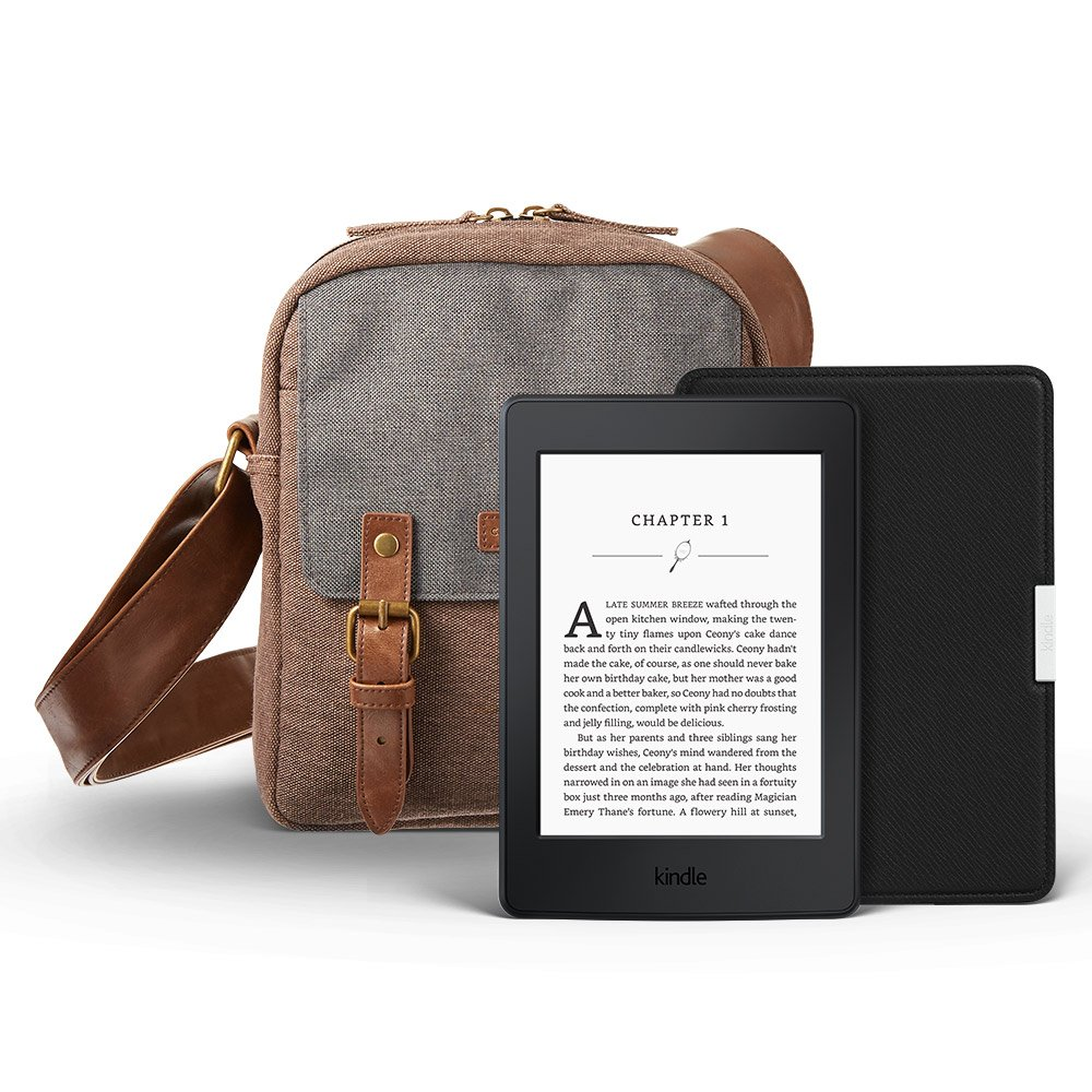 Kindle Paperwhite Gift Bundle including Kindle Paperwhite 6'' E-reader (Black, Wi-Fi, Special Offers), Amazon Leather Cover - Onyx Black, and shoulder travel bag by