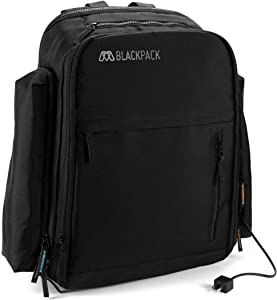 """MOS BLACKPACK Grande, Durable Electronics Travel Backpack for 17"""" Laptop, Tablet with Built in Cable Management"""