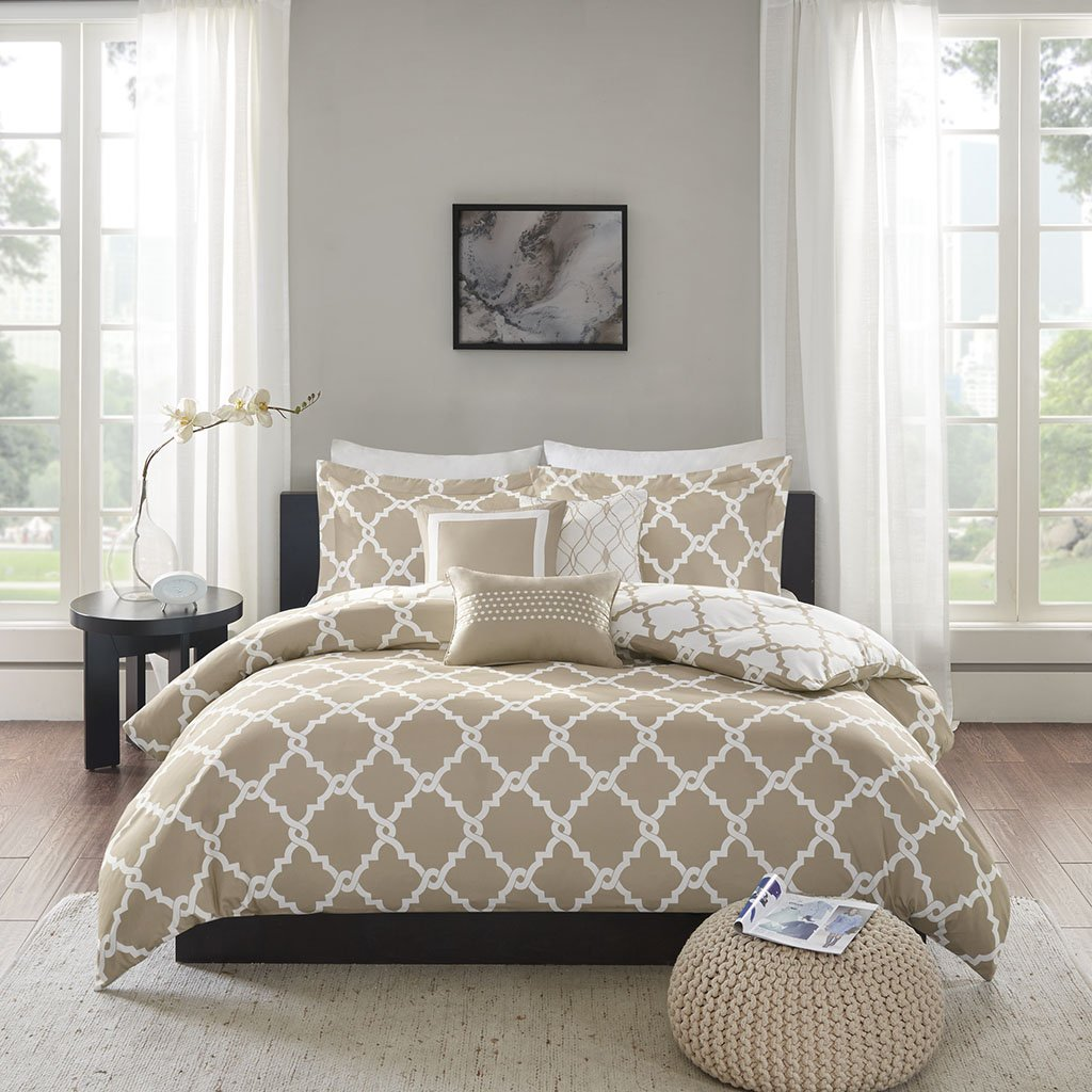 Madison Park Merritt Duvet Cover Full/Queen Size - Taupe, Geometric Duvet Cover Set – 6 Piece – Ultra Soft Microfiber Light Weight Bed Comforter Covers