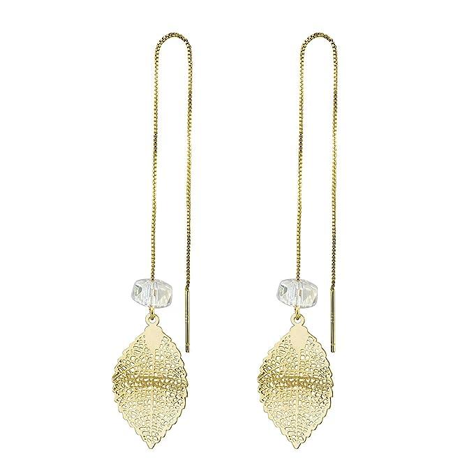 676099305202b D-DANGLE Threader Earrings Dangle Drop Leaf 14k Gold Plated Long Chain  Earrings for Women