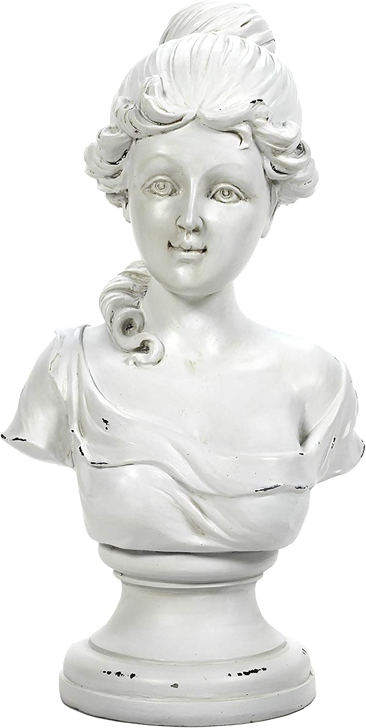 Hosley Victorian Style Figurehead Sculpture 15 Inch High: Antique White Retro Vintage Aged Finish, Art Bust Sculpture. Personalize & Decorate for Wedding, Home, Party Craft Spa, Meditation, Bath O8