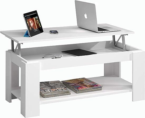 Comprar Habitdesign Mesa de Centro con revistero Incorporado, 102x50x43/54 cm (Blanco Artik)