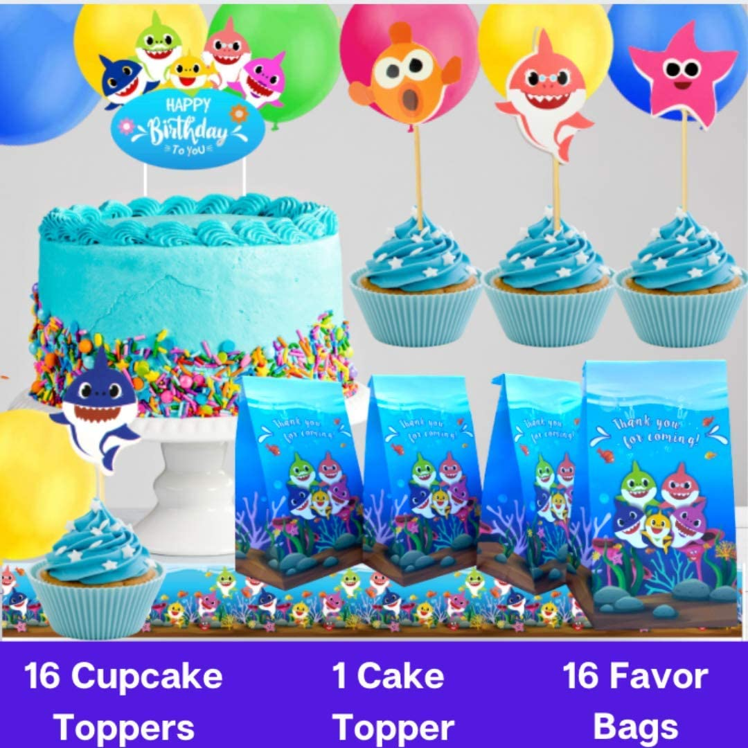 Baby Shark Party Supplies First 1st Birthday Decorations Girls Boys with Balloons Happy Birthday Banner 3x5 ft Backdrop Cake Topper Theme Cupcake Wrappers Tableware Set