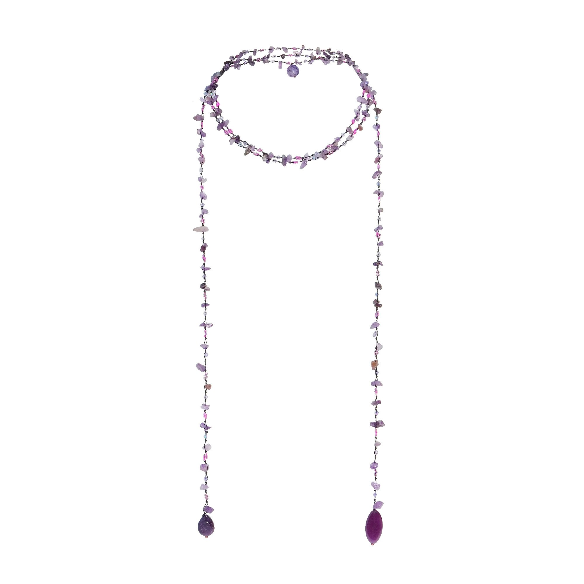 Sparkling Aura Simulated Amethyst & Reconstructed Agate Lariat Necklace by AeraVida (Image #5)