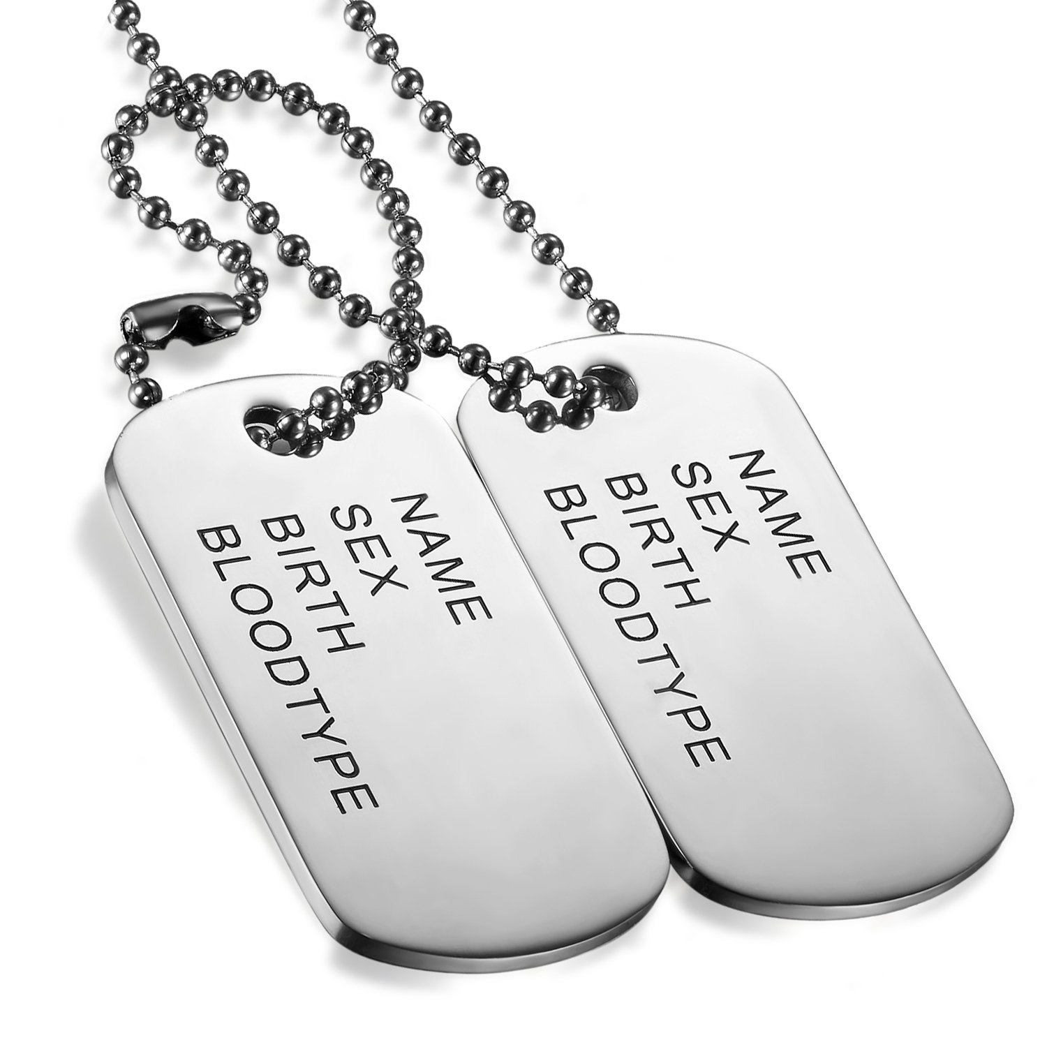 Flongo Men's Vintage 2PCS Stainless Steel Name Tag Army Dog Tag Pendant Necklace, 28 inch Chain F045023