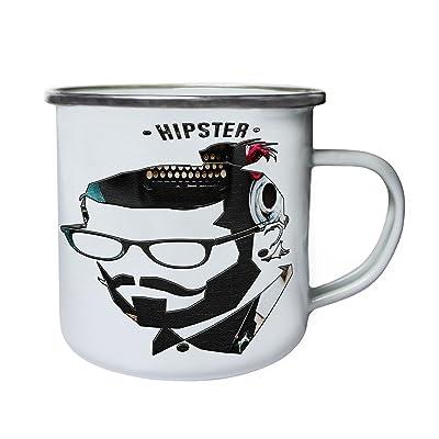 Skull Moustache 10oz Cool RétroÉtainÉmail Tasse Avec Hipster KF1TlcJ