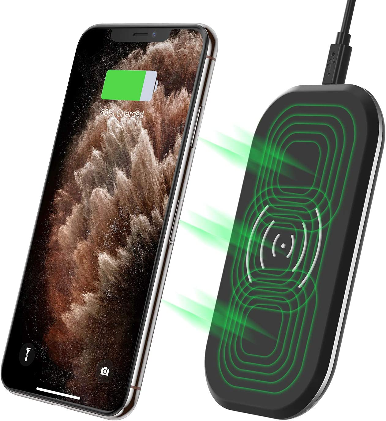 CHOETECH Cargador Inalámbrico Rápido, 3 Bobinas Qi Fast Wireless Charger 10W para Samsung S10/S10 Plus/S9/S8/Note10/Note9, 7.5W para iPhone 11/11pro/XS/XS MAX/XR/X/8 Plus y 5W Teléfonos Qi-Enabled