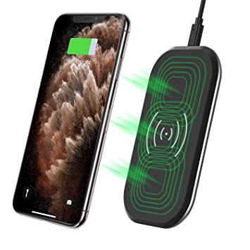 CHOETECH Cargador Inalámbrico Rápido, 3 Bobinas Qi Fast Wireless Charger 10W para Samsung S10/S10 Plus/S9/S8/Note10/Note9, 7.5W para iPhone ...