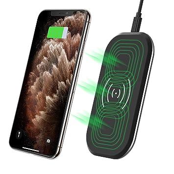 CHOETECH Cargador Inalámbrico Rápido, 3 Bobinas Qi Fast Wireless Charger 10W para Samsung S10/S10 Plus/S9/S8/Note10/Note9, 7.5W para iPhone ...