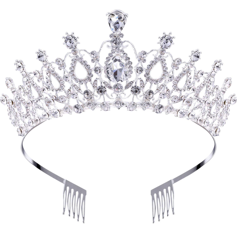 Makone Crystal Tiara Crown Headband for Wedding Prom Bridal Birthday (Style-5)