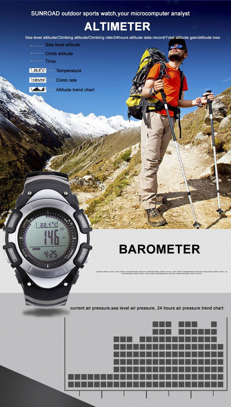 FR8204B 3ATM Waterproof Altimeter Compass Stopwatch Barometer Pedometer Outdoor Sports Watch Multifunction