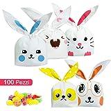 ARTMOVA 100 Pezzi Sacchetti Compleanno,Sacchetto per Caramella Confetti Borsa di Regalo Sacchetto Coniglietto di Forma del Coniglio Sacchetti di Biscotto