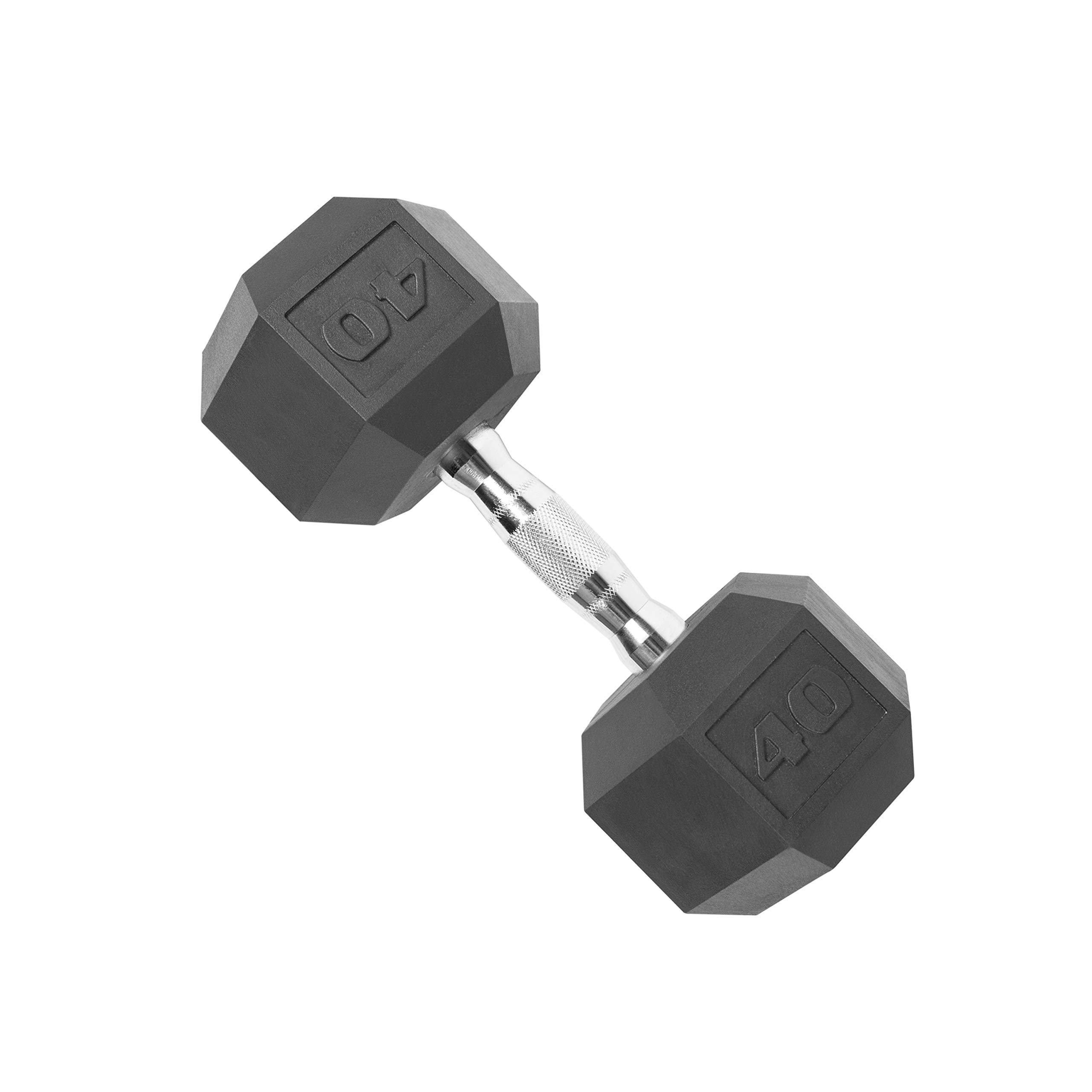 CAP Barbell SDR-040 Rubber Coated Hex Dumbbell with Contoured Chrome Handle (40-Pound), Black