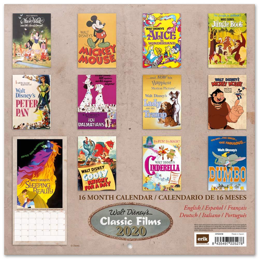 30x30 cm Calendario 2020 da muro Disney Classic Films 12 mesi Licenza ufficiale Erik/®