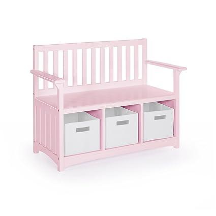 Guidecraft Classic Storage Bench With Bins   Pink: Bins Storage Cubby, Kids  Toys Organizer