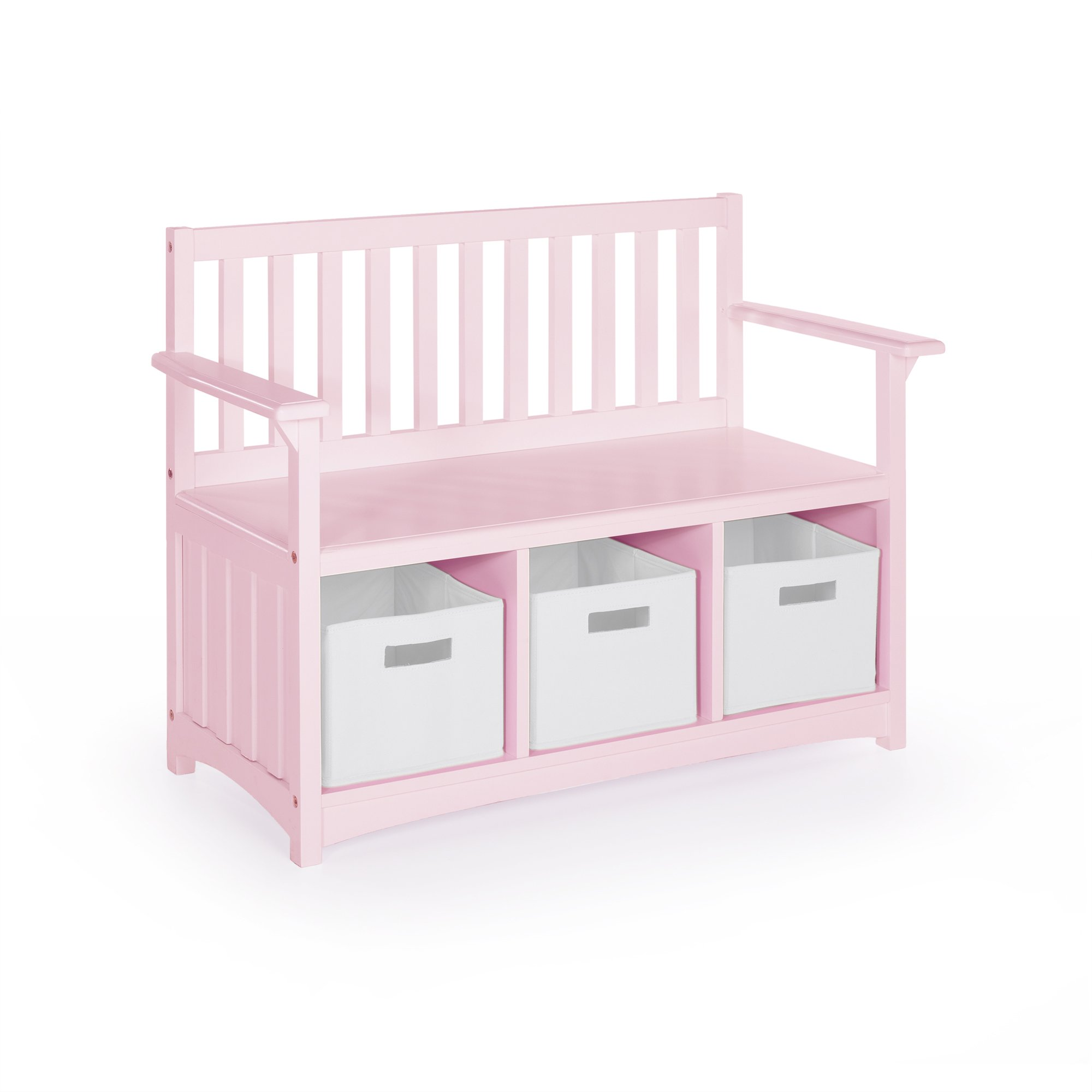 Guidecraft Classic Storage Bench with Bins - Pink: Bins Storage Cubby, Kids Toys Organizer, School Educational Supply Furniture
