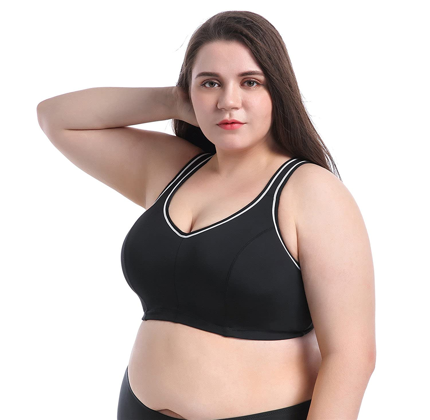 fea27f657c9cb Ciko Sports Bra Plus Size Large Busts No Padding Full Support High Impact  Wired for Woman Girls at Amazon Women s Clothing store