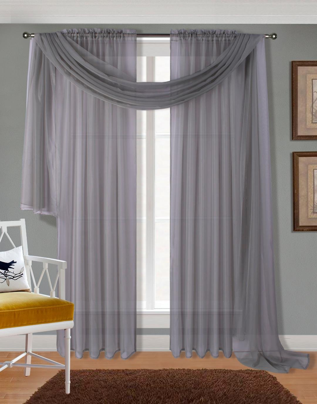 """Luxury Discounts 3 Piece Sheer Voile Curtain Panel Drape Set Includes 2 Panels and 1 Scarf (108"""" Length, Gray)"""