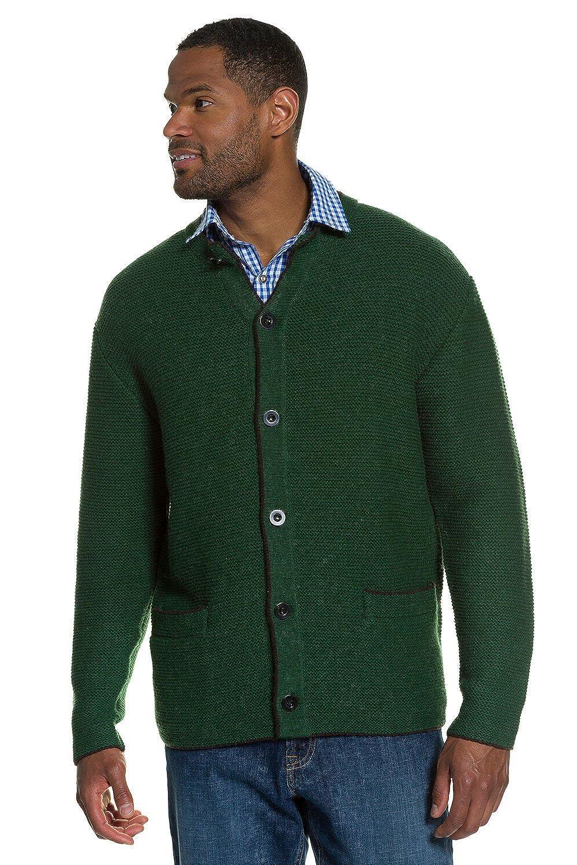 JP1880 Men's Big & Tall Traditional Wool Cardigan Sweater Dark Green Large 705706 41-L