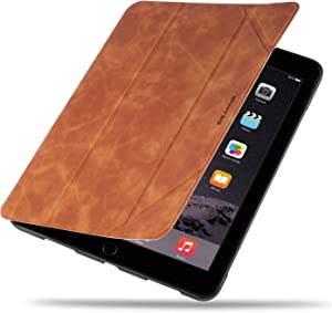 DEFBSC Case for New iPad 9.7-Inch 2018/2017/Air/Air 2,Premium PU Leather Business Slim Folding Stand Folio Cover with Auto Wake/Sleep,Pencil Holder and Multiple Viewing Angles, Brown
