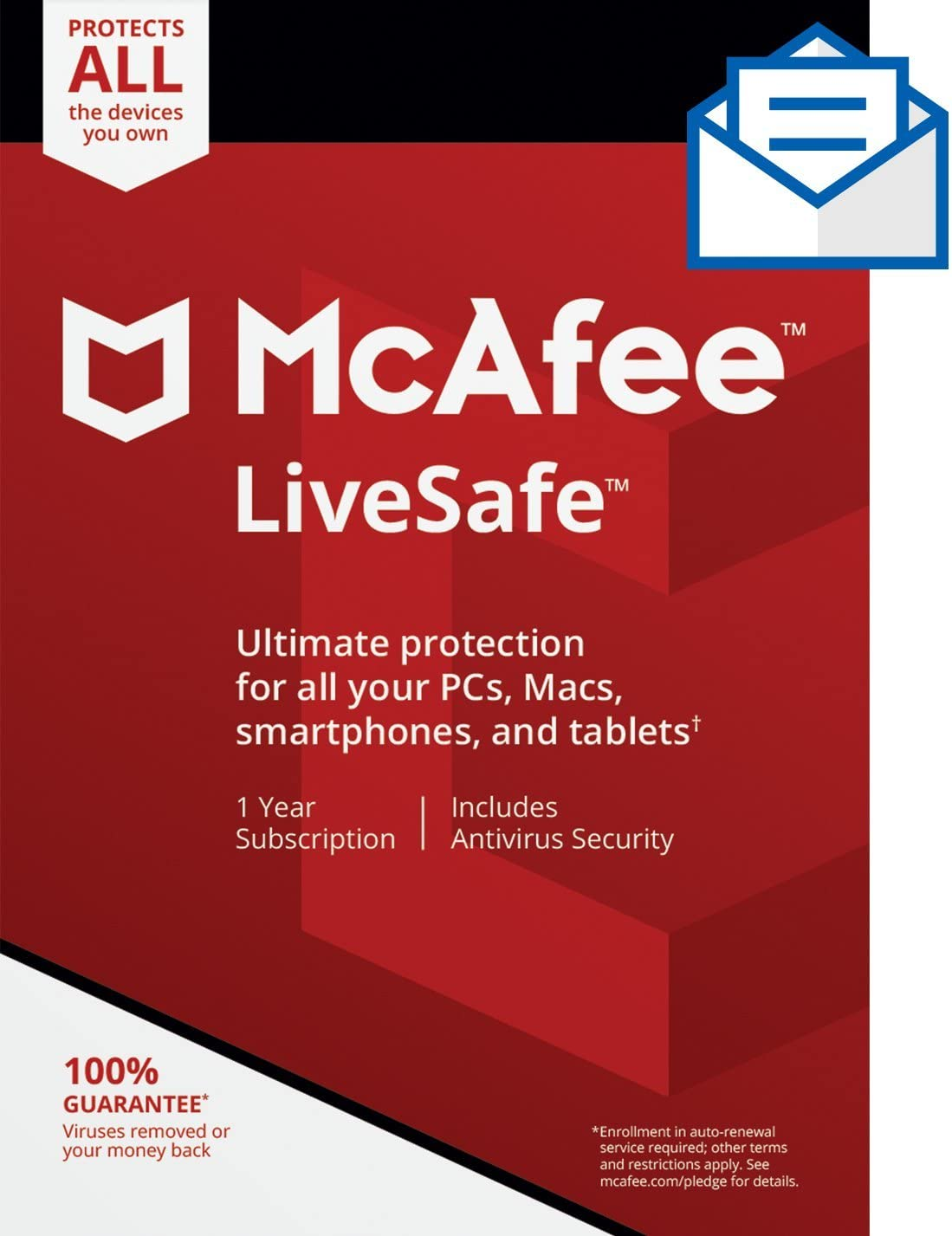 McAfee Live Safe 2020 Unlimited Devices Antivirus Internet and Identity Security Software, Safe Family, 1 Year - Key Card