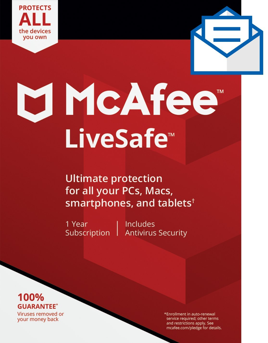 McAfee LiveSafe|Antivirus|Internet Security| Unlimited Devices|1 Year Subscription| Activation Code by Mail| 2019 Ready by McAfee