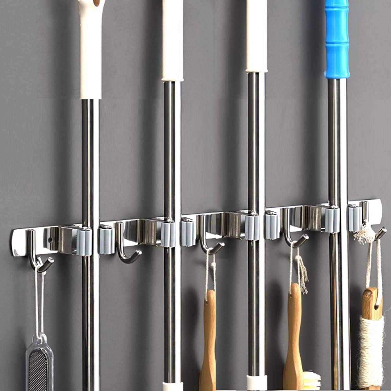 Saxhorn Broom Mop Holder Wall Mount Stainless Steel Tool Hanger Storage Organizer for Home, Kitchen, Garage, Garden, Laundry Room, Bathroom Organization and Storage(4 Racks 5 Hooks)