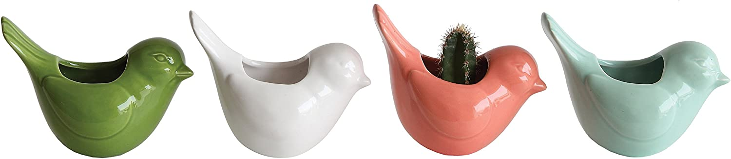 Creative Co-Op Stoneware Bird Shaped Vases with Magnets (Set of 4 Colors)