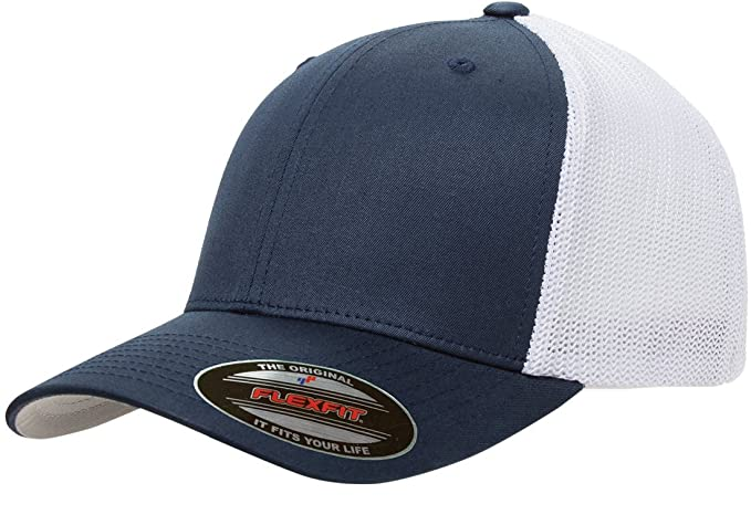 a79a5e11 Flexfit 6511 Trucker Cap (Navy/White, One Size) at Amazon Men's ...