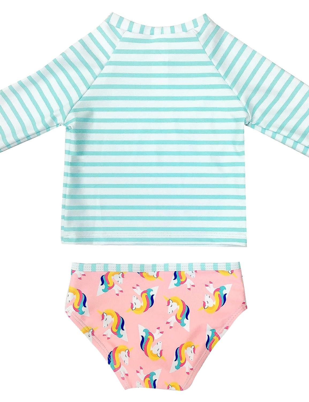GRAPENT Baby Girls Two Pieces Long Sleeve Flamingo Print Rash Guard Bathing Suit Size 3-24M
