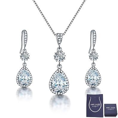 Amazoncom AMYJANE Bridal Jewelry Set for Wedding Teardrop Silver
